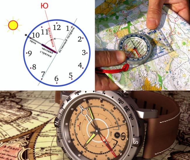 Ориентирование на местности по часам