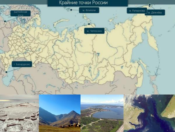 Крайние точки России материковая часть
